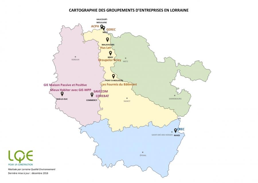 Cartographie des groupements d'entreprises en Lorraine