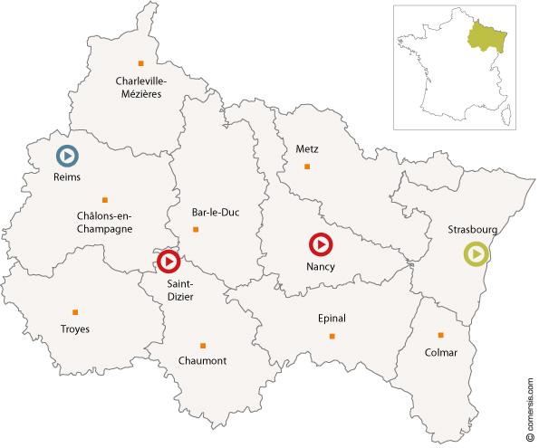 Carte centres de ressources Envirobat Grand Est